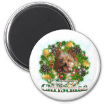Merry Christmas Yorkie 6 Cm Round Magnet