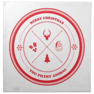 Merry Christmas You Filthy Animal Napkin