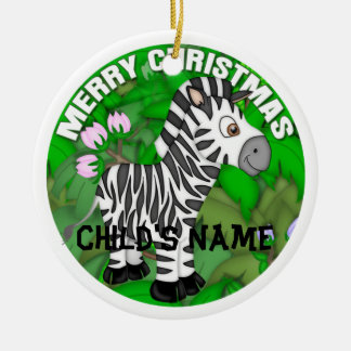 Merry Christmas Zebra Christmas Ornament
