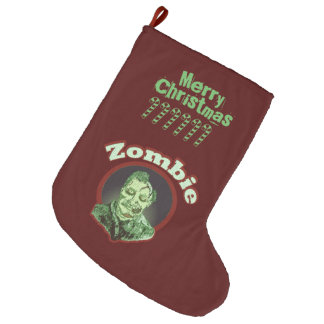 Merry Christmas - Zombie Green Large Christmas Stocking