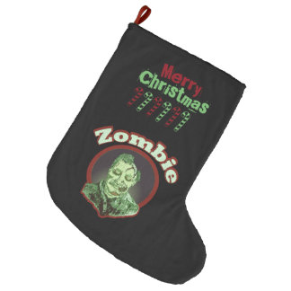 Merry Christmas - Zombie Green on Black Large Christmas Stocking