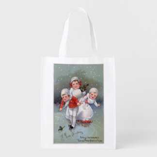 Merry ChristmasLittle Kids Ice Skating Grocery Bag