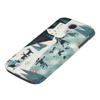Merry Christmastime Skating Scene Galaxy S4 Case