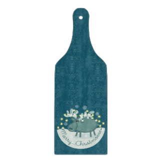 Merry Christmoose Glass Paddle Chopping Board
