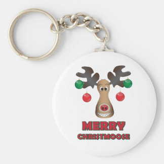 Merry Christmoose! Basic Round Button Key Ring