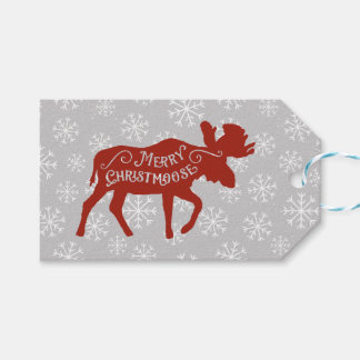 Merry Christmoose Moose and Snowflakes Gift Tags