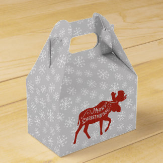 Merry Christmoose Red Christmas Moose Wedding Favour Box