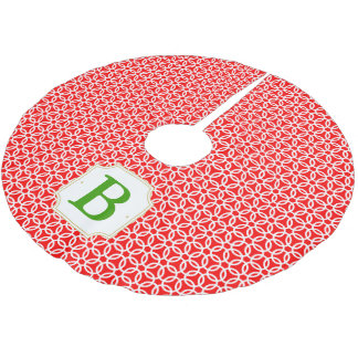 Merry Circles Monogrammed Tree Skirt - Red & Green Brushed Polyester Tree Skirt