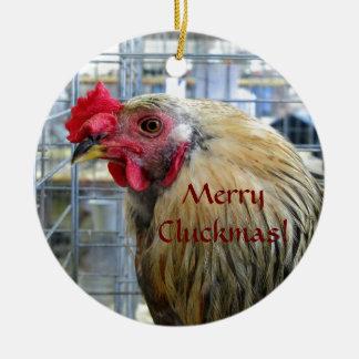 """Merry """"Cluckmas"""" Show Chicken Ornament"""