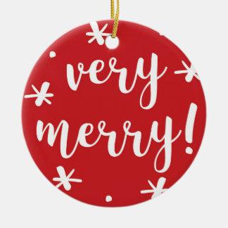 Merry Confetti Christmas Round Ceramic Decoration