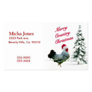 Merry Country Christmas Chicken With Santa Hat Business Card Template