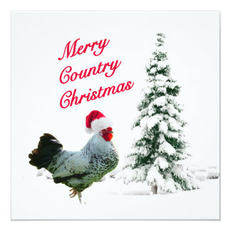 Merry Country Christmas Chicken With Santa Hat Card
