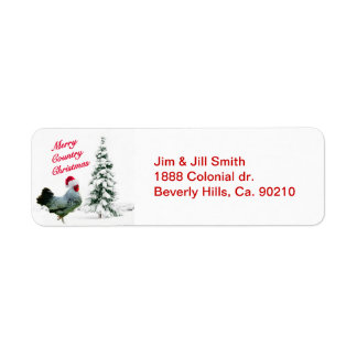 Merry Country Christmas Chicken With Santa Hat Return Address Label