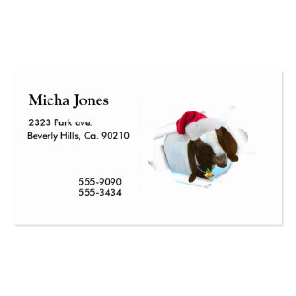 Merry Country Christmas Goat With Santa Hat & Bell Business Card Template