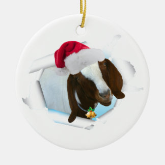 Merry Country Christmas Goat With Santa Hat & Bell Christmas Ornament