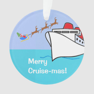 Merry Cruise-mas Ship and Santa Ornament