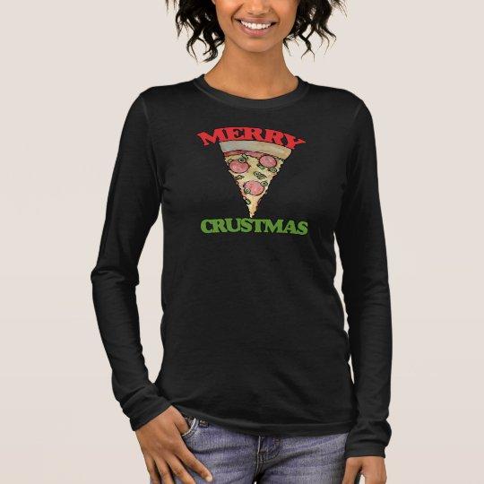 Merry Crustmas Christmas pizza Long Sleeve T-Shirt