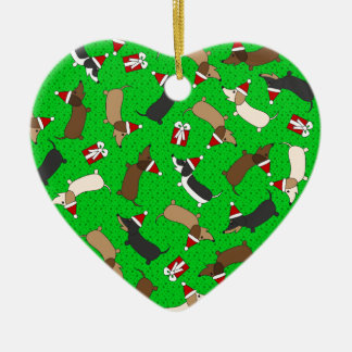 Merry Dachshunds Ceramic Heart Decoration