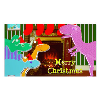 Merry Dinosaurs by the Fireplace Christmas Cards Pack Of Standard Business Cards