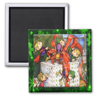 Merry Elves Wrapping Present Button Refrigerator Magnet