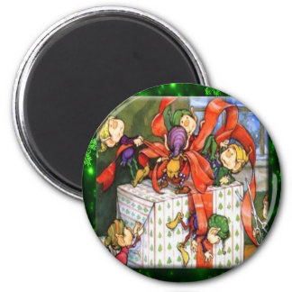 Merry Elves Wrapping Present Round Button Fridge Magnet