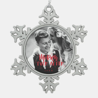 Merry Ever After   Wedding Photo Snowflake Pewter Christmas Ornament