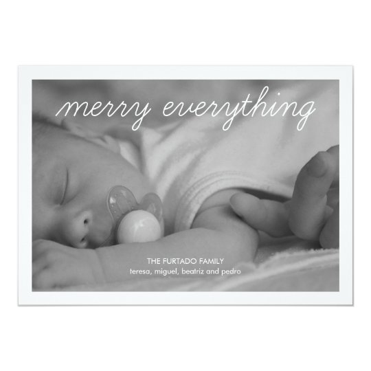 Merry Everything Baby Christmas Photo Holiday Flat Card
