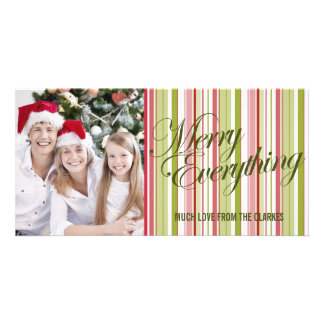 Merry Everything Colour Stripes Photo Greeting Photo Greeting Card
