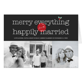 Merry Everything Happily Married Holiday Greetings Greeting Card