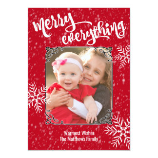 Merry Everything Holiday Snowfall Photo Card