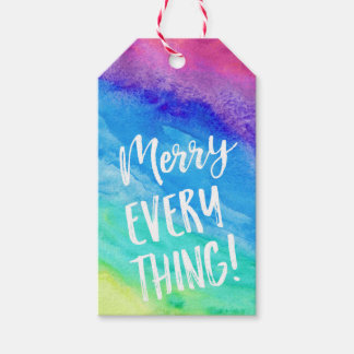 Merry Everything rainbow Christmas gift tags