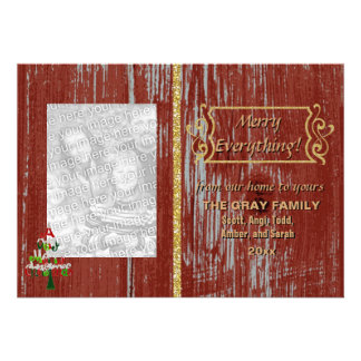 Merry Everything Rustic Painted Wood 2 Photo Xmas Invites