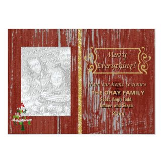 Merry Everything Rustic Painted Wood 2 Photo Xmas 5x7 Paper Invitation Card