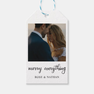 Merry Everything Script Holiday Photo Gift Tags