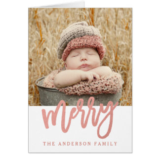 Merry Faux Rose Gold Foil | Holiday 2 Photo Card