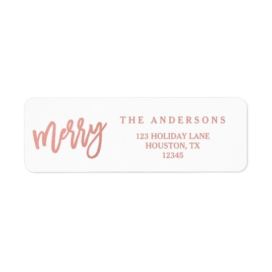 Merry Faux Rose Gold Foil | Holiday Address Labels