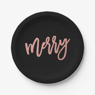 Merry Faux Rose Gold Foil Holiday Paper Plate