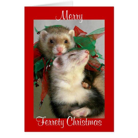 Merry Ferrety Christmas Card (Blank)