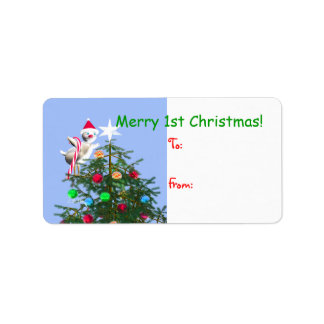 Merry First Christmas Baby Bird Gift Tag Address Label