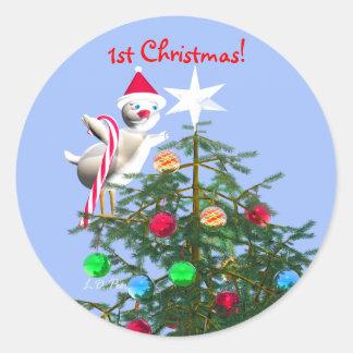 Merry First Christmas Baby Bird Round Sticker