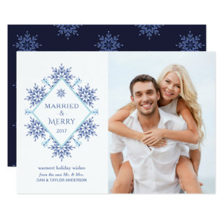 Merry First Married Christmas Snowflake Photo Card