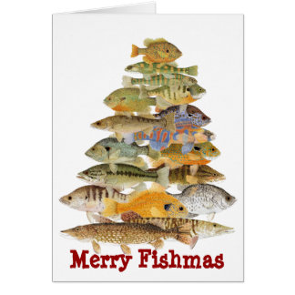 Merry Fishmas- Freashwater Fish Christmas Tree Greeting Card