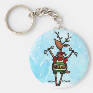 merry fitness reindeer basic round button key ring