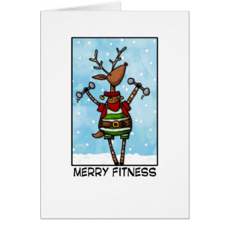 Merry Fitness Reindeer Card