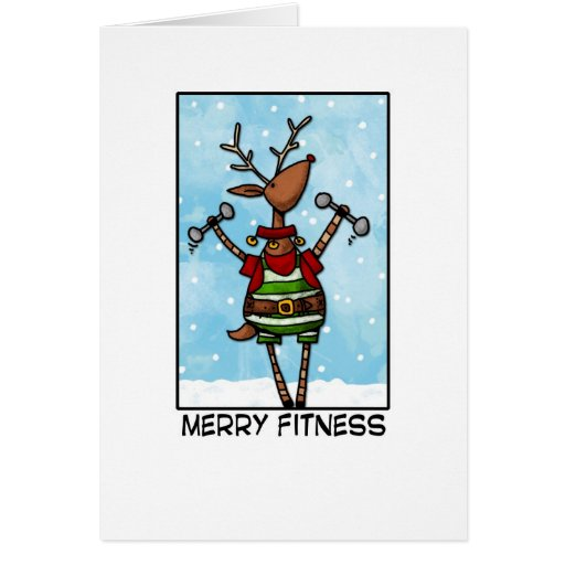 Merry Fitness Reindeer Greeting Card