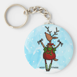 merry fitness reindeer key ring