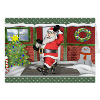 Merry Fitness Santa Dumbells Blank Holiday Card