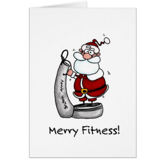 Merry Fitness Santa Greeting Card