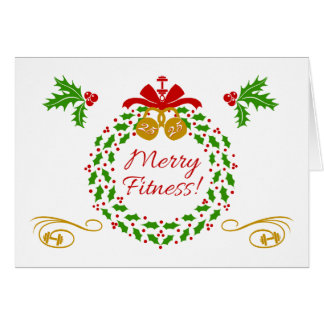 Merry Fitness Wreath Blank Holiday Card