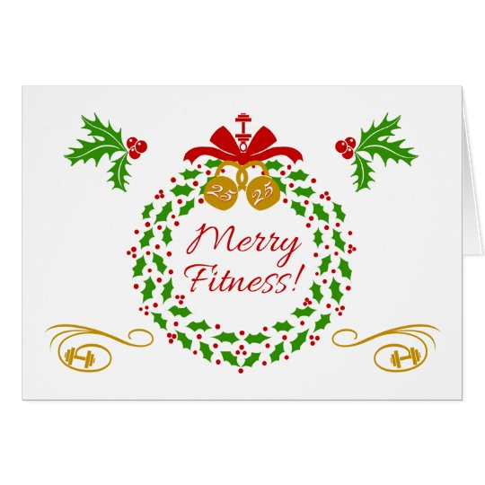 Merry Fitness Wreath Christmas Holiday Card